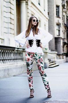 Julia - H&M Shirt, Shein Corset Belt, Zara Pants, Noweekends Sunnies, Aldo Sandals - Corset belt