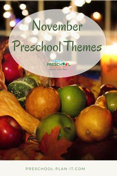 Novmeber Preschool Themes Not sure where to start for themes and topics for your preschool planning? Fun themes and holiday and special theme ideas! November Preschool Themes, Preschool Monthly Themes, Preschool Family Theme, Preschool Calendar, Daycare Themes, Daycare Ideas, Preschool Teacher Tips, Preschool Lesson Plans, Preschool Activities