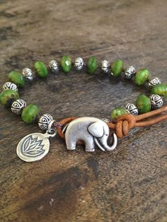 Elephant  & Silver Lotus Leather Wrap Bracelet by TwoSilverSisters, $30.00