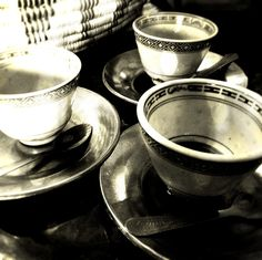{ STIL LIFE: A TRIO OF ETHIOPIAN COFFEE CUPS I - Black and White} Camera: iPhone 5, 8-megapixel iSight camera Mobile Editing: Photoshop Express, Pixlromatic — at Abyssinia.
