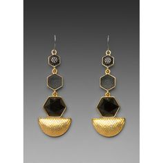 House of Harlow Hexagon Drop Earrings in Gold/Black ($70) found on Polyvore