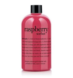 Philosophy Raspberry Sorbet bubble bath.  The bottle says it can be used as a shampoo or a shower gel too.  Rich, creamy and smells good enough to eat!
