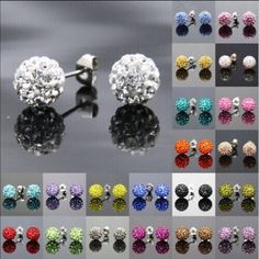 Micro Disco Ball Shamballa Crystal Stud Earrings Brand new. Light blue Jewelry Earrings
