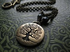 Tree of Life Necklace in Brass. Klimt Inspired. Yggdrasil. Wicca Pagan Spiral. via Etsy