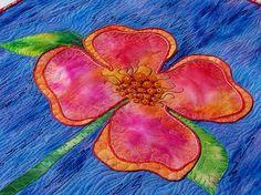 MarveLes PEACHY POSY Wand Kunst Blumen Quilt Blue Peach Pink Spring Leslie McNeil