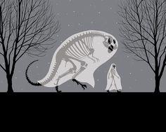 Dan McCarthy // dinosaur, man, skeletons, ghosts, trees