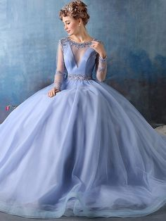 Ball Gown Scoop Neck Tulle Sweep Train Appliques Lace Long Sleeve Backless Modest Prom Dresses - dressesofgirl.com