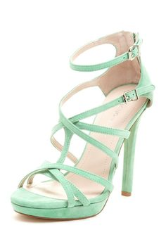 Strappy mint green heels #bride #shoes #weddingshoes #mint #mintwedding