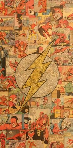 Flash Logo Comic Collage by Mike Alcantara The Flash, Flash Tv, Flash Arrow, Marvel Vs, Marvel Dc Comics, Supergirl, Comic Books Art, Comic Art, Flash Comic Book