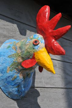 Items similar to Faux Taxidermy Rooster//Paper Mache Animal Head// Paper Mache Sculpture//Rooster Sculpture// Unique Gift on Etsy
