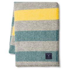 Faribault for Target Stripe Wool Throw - Heather Grey/Yellow