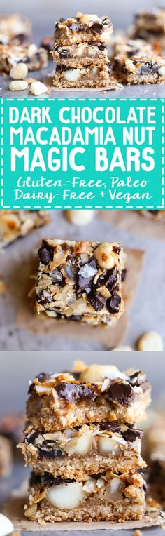 These Dark Chocolate Macadamia Nut Magic Bars are a sweet & gooey dessert bar with a hint of tropical flair. You'll be hooked after one bite of the gooey vegan caramel and buttery macadamia nuts on a gluten-free coconut lime crust.