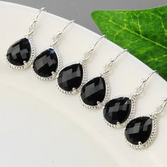 Sparkling black earrings - perfect bridesmaid jewelry!  5% OFF SET OF 3 Bridal Jewelry - Black Bridesmaid Earrings - Bridesmaid Gift -Silver and Glass Drop Earrings - Wedding Jewelry - $74.00 -