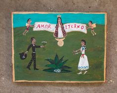 Mexican Folk Art, Altars, Naive, Blessings, Primitive, Blessed, Painting, Baseball Cards, Blue