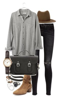 """""""Untitled #6838"""" by nikka-phillips ❤ liked on Polyvore featuring rag & bone, R13, Madewell, Mudd, The Cambridge Satchel Company, Timex, Yves Saint Laurent and Monki"""