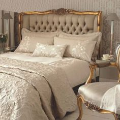 Gold French versailles upholstered bed 5ft- French bed with linen button headboard enhanced with luxury ornate gold detailing: