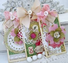 these are beautiful Ur cards r amazingly gorgeous. Gives me hope that store bought embellished cards can still be outdone! Card Tags, Gift Tags, Diy And Crafts, Paper Crafts, Handmade Tags, Shabby Chic, Candy Cards, Vintage Tags, Vintage Pink