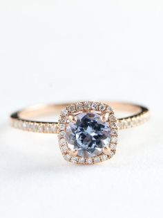 Engagement ring rose gold tanzanite and by aardvarkjewellery