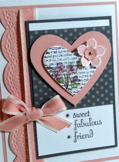 Me, My Stamps and I--the list with mini brads/rhinestones/pearls Pretty Cards, Love Cards, Cards For Friends, Friend Cards, Scrapbook Cards, Scrapbooking, Friendship Cards, Valentine Day Cards, Card Tags