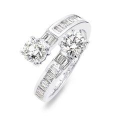 1.99 Carat Cross Over Round Brilliant Cut Diamond Dress Ring in 18K Wh – Shimansky Engagement Ring Styles, Diamond Engagement Rings, Diamond Dress, Eternity Ring Diamond, Custom Jewelry Design, Dress Rings, Fashion Rings, Natural Diamonds, Diamond Cuts