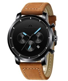 MEGALITH Mens Watches Men Chronograph Black Military Waterproof Sport Stainless Steel Wrist Watch Business Dress Date Analogue Quartz Watches for Man Watches For Men, Black Watches, Sport, Brown Leather, Military, Stainless Steel, Accessories, Megalith, Jewelry
