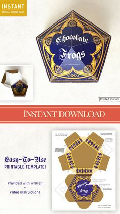 I love that I can just click a button and just print these Chocolate Frog containers for my Harry Potter Party! I this will be the best party yet.  ad#affiliate#etsy#etsydownloads#printableart#labless#instantdownload#harrypotter#harrypotterfan #candybuffet #honeydukes #chocolatefrog