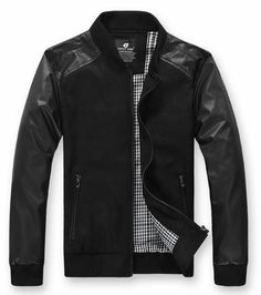 New Fall/Winter Long Sleeve Men Cultivation Faux Leather/Polyamide M/L/XL/XXL@dat552