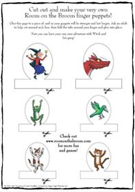 Act out Room on the Broom from your own living room with these free printable finger puppets!