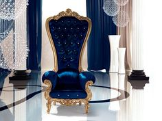 This regal armchair by Italian furniture company Caspani will make you feel like a king or queen in your castle. The Throne armchair boasts an extra-high Italian Furniture, Luxury Furniture, Cool Furniture, Luxury Chairs, Blue Furniture, Furniture Chairs, Classic Furniture, Furniture Online, Wooden Furniture
