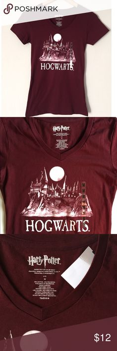 💝Harry Potter Hogwarts tee NWT💝 -Officially licensed Harry Potter tee -Unique oxblood color with white font -Size M juniors, runs smaller, with long slim fit, may fit from an XS-juniors M best -24in. long -Chest 14.5in. across -50% cotton/50% poly -Soft & stretchy -NWT, never tried on Harry Potter Tops Tees - Short Sleeve