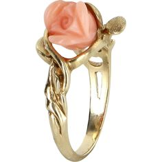 Carved Coral Rose Flower Cocktail Ring Vintage 14 Karat Yellow Gold Estate Jewelry