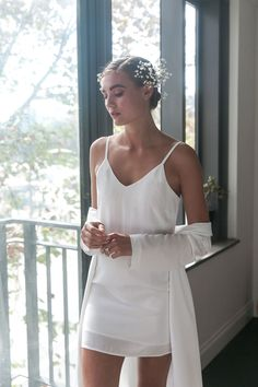Sena Slip Dress in White Bridal Robes, Darts, Blush Pink, Perfect Fit, Fiber, Campaign, Cold Shoulder Dress, White Dress, Neckline