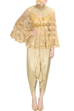 SONALI GUPTA Beige dabka embroidered cape with dhoti pants available only at Pernia's Pop-Up Shop.