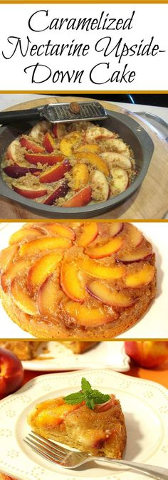 Summertime's delicious bounty of fresh and juicy nectarines comes alive in this recipe for Bountiful Caramelized Nectarine Upside-Down Cake. - Kudos Kitchen by Renee Easy Cake Recipes, Best Dessert Recipes, Fruit Recipes, Kitchen Recipes, Fun Desserts, Baking Recipes, Breakfast Recipes, Fruit Dessert, Gastronomia