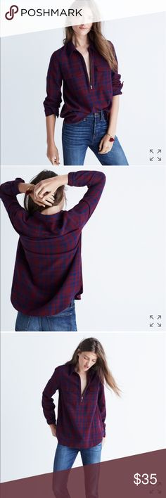 flannel zip-front popover shirt in mckinney plaid PRODUCT DETAILS A favorite returns—this supersoft pop-on shirt in timeless burgundy and blue plaid. Zip up on brisk days or leave it open for a more chill look.  True to size. Cotton. Machine wash. Import. Madewell Tops