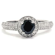 Black diamond engagement ring, with white diamond halo, 14K white gold. $599