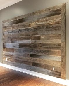 Holz ideen Urban Wood Company — Here's the second of three barn wood accent. Old Barn Wood, Reclaimed Barn Wood, Barnwood Ideas, Reclaimed Wood Accent Wall, Barn Board Wall, Barn Boards, Barn Board Decor, Peg Boards, Barn Wood Projects