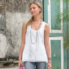 FRENCH QUARTER TANK--Fall in love with the romantic details of this charming, cotton voile tank, rich with embroidery, inset lace and chiffon trim.