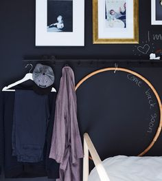 A wall rail with hooks and the next day's outfit hung on a clothes hanger on the rail Ikea Storage Bed Hack, Under Bed Storage, Bedroom Storage, Bedroom Wall, Wall Railing, Support Mural, Sofa Styling, Dark Walls, Sons