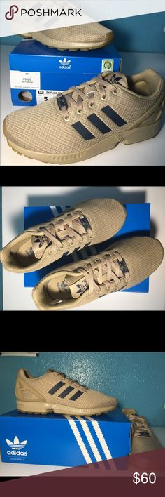 EXCLUSIVE Adidas ZX Flux: Tan/Navy This is an exclusive pair of zx flux Adidas. Never worn in perfect condition. Adidas Shoes Athletic Shoes