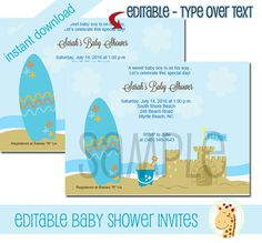 Boy Blue Beach Surf Board and Sand Castle Baby Shower Invitations, Print your own EDITABLE TEXT Instant Download