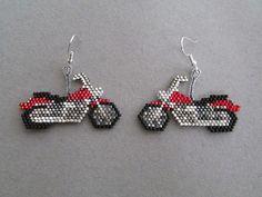Red Motorcycle Earrings in delica seed beads