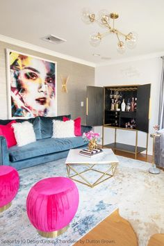 Nov 2018 - Hot pink + gilded brass glam in this living room space by Nicole DelaCruz of IQ Design Group featuring the Horizontal Reef Globe Chandelier lighting by Dutton Brown. Pink Living Room, Room Design, Interior, Meditation Room, Mid Century Living Room, Living Room Spaces, Home Decor, Apartment Decor, Living Room Designs