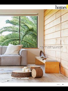 Great sofa and timber stump side tables