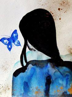 ★ Brilliant Blue ★ Portrait Woman Back Hair Butterfly Contemporary Art Modern Art Portrait Decor Blue Black Gold Romantic Girl Butterfly Woman Fine Art