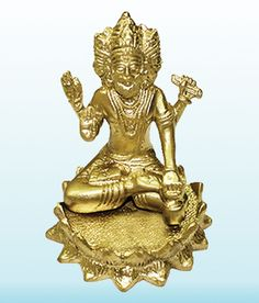 Brahma Idol In Brass Hindu Religious God Sculpture Festival