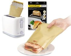 Brilliant!  Toastabags.  For grilled cheese sandwiches done in a toaster.  This is a great idea if you don't own a toaster oven, but the stand up kind.