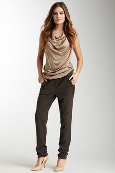 Gold Hawk Zipper Pant in Turkish Coffee & Silk Top in Nutmeg