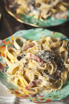 Creamy Tagliatelle with Bacon, Portobello Mushrooms and Truffle Oil - (Free Recipe below) Pasta Recipes, Gourmet Recipes, Cooking Recipes, Healthy Recipes, Rice Recipes, Barbecue Recipes, Cooking Ideas, Yummy Recipes, Dinner Recipes