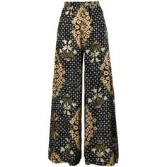 Preowned 1970s Rizkallah For Don Friese Vintage Boho Print Wide Leg... ($250) ❤ liked on Polyvore featuring pants, bottoms, trousers, multiple, flower print pants, palazzo pants, print pants, floral print pants and wide leg trousers